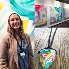"""""""Amarame...Amare vobis"""" fellow artist Mo Bella and her #kltart handmade, hand painted, one of a kind, 3-D, custom made necklace inspired by her featured abstract artwork in the UIC Montgomery Ward Art Gallery. Thanks for the support, Mo!  #jewelrydesigner #handmadejewelry #handpainted #chicagoart #chicagoartist #chicagoartists #abstractart #artistssupportingartists #uic"""
