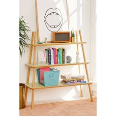 Agatha Tiered Wooden Bookshelf (910 ILS) ❤ liked on Polyvore featuring home, furniture, storage & shelves, bookcases, wood shelf, wooden bookcase, tiered shelves, wooden bookshelf and wood shelves