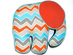 Elephant Pillow Aqua Orange Gray by CecilClyde on Etsy, $57.00