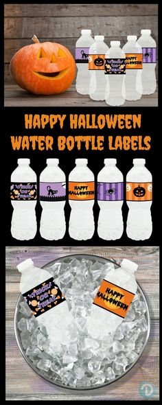 Makes a Spooktacular party Idea - Peel and Sticker Waterproof Happy Halloween themed Water Bottle Labels.  All 5 designs included.