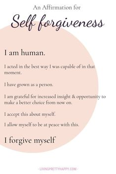 An affirmation for self forgiveness. A pivotal step in accepting yourself An affirmation for self forgiveness. A pivotal step in accepting yourself Positive Affirmations Quotes, Self Love Affirmations, Affirmation Quotes, Positive Mantras, Healing Affirmations, Wisdom Quotes, Life Quotes, Friend Quotes, Positive Quotes Anxiety