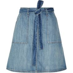 Current/Elliott - The Wrap Stretch-denim Skirt ($100) ❤ liked on Polyvore featuring skirts, light denim, current elliott skirt, blue skirt, blue wrap skirt, tie wrap skirt and tie waist skirt