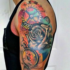 Watercolor Tattoo on Sleeve - Clock and Rose
