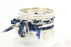 Europe and America Style Fashion Retro Leopard Pattern Multi Level Pearl Alloy and Cloth Blue Charming Bracelets for Girls
