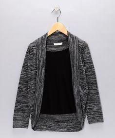 Take a look at this Charcoal & Black Layered Open Cardigan  by Blow-Out on #zulily today! #fall #zulily