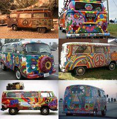Variety of flower power VW Camper vans