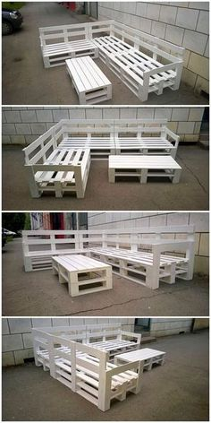 Innovative ways to recycle wooden shipping pallets . table design Innovative ways to recycle wooden shipping pallets . Pallet Garden Furniture, Pallets Garden, Furniture Ideas, Furniture Layout, Palette Furniture, Diy Outdoor Furniture, Furniture Nyc, How To Paint Pallet Furniture, Cheap Furniture