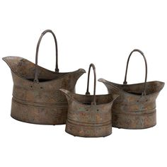 Set of 3 Rustic Wash Metal Planters, Brown made by Outdoor Living .