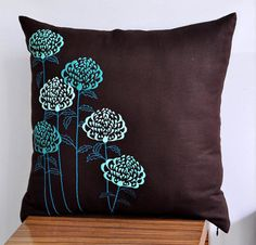 Teal Flower Pillow Cover Throw Pillow Cover 18 x 18 от KainKain