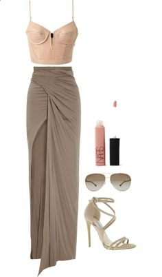 elegant.  maxi skirt, crop top, heels. Nice for going to a fancy yet casual outting