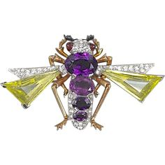 Super Rare Vintage Signed Mazer Faux Amethyst And Citrine Rhinestones Bee Bug Pin Brooch