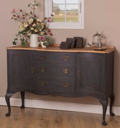 Elegant Period Sideboard hand painted in Annie Sloan Charcoal distressed and finished in a Matt sealer for added protection. The surface top