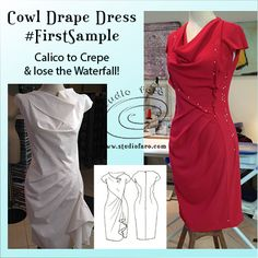 Calico to Crepe and lose the waterfall!  The Cowl Drape Dress #PatternPuzzle from May 2014 has made it to #FirstSample. :) Lots of growth in the crepe fabric will need some pattern alterations but I do see the beginning of a great dress.  What do you think?  Join the conversation: