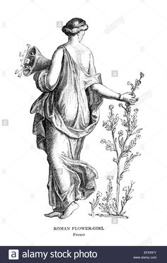 Download this stock image: Victorian engraving of a fresco of a Roman flower girl. Digitally restored image from a mid-19th century Encyclopaedia. - EFKRFY from Alamy's library of millions of high resolution stock photos, illustrations and vectors.