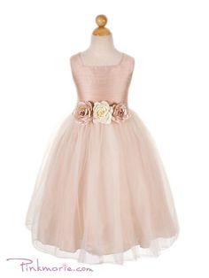 Dusty Rose Silk Bodice with Tulle Skirt Flower Girl Dress - long sleeve tight black dress, junior shift dresses, gray dresses for women *ad