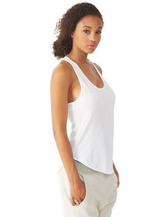 44874d43f704f Perfect Pima Shirttail Racerback Tank Top