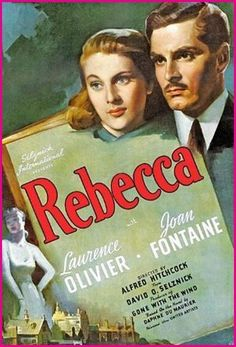 "Rebecca (1940) is the classic Hitchcock gothic thriller and a compelling mystery (and haunting ghost story) about a tortured romance. The somber film's screenplay based on a literal translation of Daphne du Maurier's 1938 gothic novel of the same name, in the tradition of Charlotte Bronte's Jane Eyre. One of the film's posters asks the intriguing question: ""What was the secret of Manderley?"""
