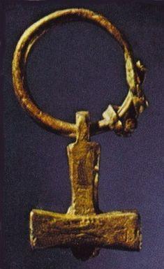 Silver Thors hammer. 9th Century CE. Lund, sweden