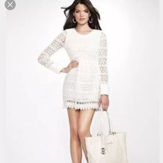 Guess Size S Lace Long Sleeve Dress
