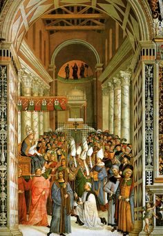 Pinturicchio (1452 ca.-1513) - Pio II, dopo l'incoronazione, entra in San Giovanni in Laterano - affresco - 1502-1507 - Siena, Duomo, Libreria Piccolomini