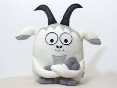 Funny Goat soft toy plush stuffed toy animal by ecotule on Etsy