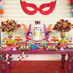 Fiestas de disfraces Feliz Carnaval Carnival Birthday Parties, 50th Party, Mardi Gras Decorations, Birthday Decorations, Masquerade Ball Party, Animal Party, 2nd Birthday, Cake Decorating, Carla Santos