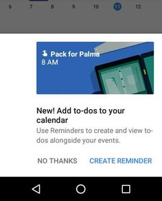 Google calendar now support to-do list. You can add one time reminder to Google calendar. Just update the app on your Android. #android https://plus.google.com/+PravinVibhute/posts/UmHoLVt15nb