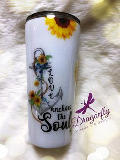 Love Anchors The Soul Sunflower Custom Glitter Stainless Steel Tumbler Cup - - Diy Tumblers, Acrylic Tumblers, Custom Tumblers, Glitter Tumblers, Diy Vinyl Projects, Vinyl Crafts, Tumbler Cups, Coffee Tumbler, Sunflower Accessories