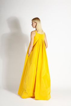 Neon yellow tent gown | Rochas, Resort 2015