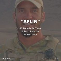 """Aplin"" WOD - 20 Rounds for Time: 6 Strict Pull-Ups; 20 Push-Ups"
