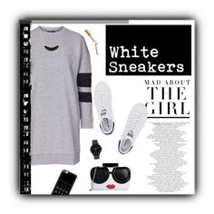 """""""Sporty White Sneakers"""" by mandy-saur ❤ liked on Polyvore featuring Kershaw, adidas Originals, Topshop, Alice + Olivia, The Horse, Casetify, Alexis Bittar, sporty, sneakers and contestentry"""