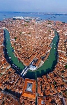Aerial view over the city of Venice - Italy