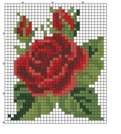 miniature needlework chart ~ would make a beautiful perler bead ornament! Bead Loom Patterns, Beading Patterns, Embroidery Patterns, Flower Patterns, Cross Stitch Charts, Cross Stitch Designs, Cross Stitch Patterns, Cross Stitching, Cross Stitch Embroidery
