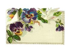 Vintage pansy and dove label