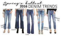 hottest denim trends for spring, flare jeans, cropped flares, distressed jeans, culottes, straight leg jeans