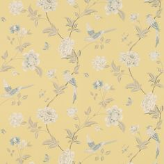 Charmant Elveden Camomile Wallpaper An Elegant Archive Print Depicting Beautiful  Birds And Flowers On Washable Wallpaper,