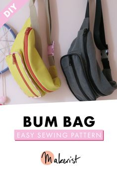 Sew your own crossbody bumbag with step by step instructions via Makerist.    #makerist #makeristcom #mymakerlife #makersgonnamake #maker #sewing #sew #sewingpatterns #imadethis #crossbodybag #streetstyle #summerdiy #diy #crafting #bumbag #bumbagsewingpattern #sewingprojects #sustainablefashion #sustainable #slowfashion #imadethis #makedontbuy #fashionrevolution #bagpattern #makeyourownclothes Easy Sewing Patterns, Bag Patterns To Sew, Make Your Own Clothes, Old Jeans, Bum Bag, Simple Bags, Handmade Bags, Diy Fashion, Bag Making