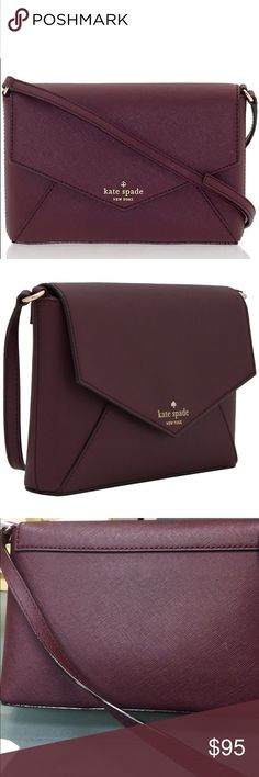 """Kate Spade cedar street leather envelope crossbody Kate Spade New York Cedar Street Large Monday Size One Size - Mulled Wine. Burgundy Maroon Oxblood Kate Spade leather crosshatch leather Kate Spade New York Cedar Street Large Monday envelope crossbody bag with gold-tone hardware, single detachable flat shoulder strap with buckle adjustment, black and white polka dot woven lining, single interior slit pocket and magnetic snap closure at front flap  Height: 6"""" Width: 9"""" Depth: 1.5"""" Condition…"""