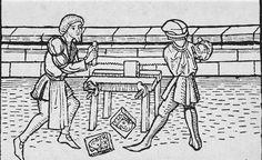 Two man working a cross-cut saw on a workbench. The workbench is fitted with a screw clamp. Blockbuch Eysenhuts, 1471. Herzogliche Bibliothek, Xyl III no. 8. Gotha, Germany