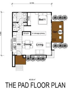 20x30 single story floor plan one bedroom small house for Home design 50m2