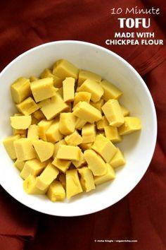 10 min Non soy tofu made with Chickpea flour or Besan / gram flour. Use as Tofu Chickpea Flour Recipes, Tofu Recipes, Whole Food Recipes, Vegetarian Recipes, Cooking Recipes, Healthy Recipes, Soy Flour Recipes, Cooking Tips, Dinner Recipes