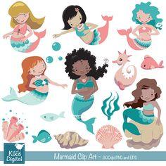 Mermaid clipart little mermaid clip art under the sea от DigiKika