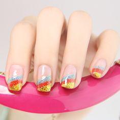nail art nail art. Rainbow nailart. Rainbow tips