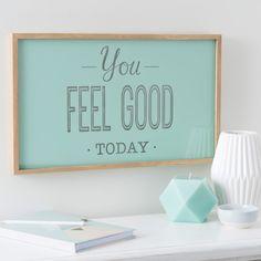 Leuchtbild FEEL GOOD aus Holz, 30 x 50 cm, mintgrün
