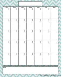 Freebie: Monthly Calendar Printable (lots of differ things to get organized)