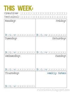 free printable Weekly Calendar Template {with great ideas for time management &  simple clever health checklist}