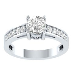 1.10 CT 4 Prong Setting Round Cut Diamond 925 Silver Solitaire With Accents Ring #parasexports #SolitairewithAccents