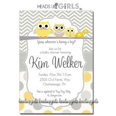 Personalized Gray and Yellow Boys Owl Family Baby Shower Invitations in Chevrons and Polka Dots by HeadsUpGirls, $1.50