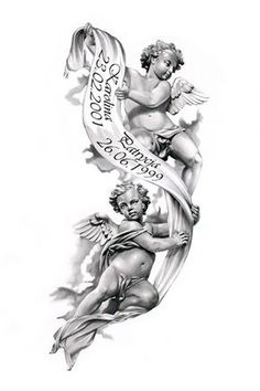 Angels tattoo design by ca5per--beautiful for passing of grandparents.