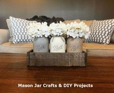 painted mason jars This listing is for our most popular and loved Ball Mason Jar Centerpieces! It is sure to set a perfect rustic look to any home decor! It is very versatile and can Pot Mason Diy, Mason Jar Crafts, Rustic Decor, Farmhouse Decor, Rustic Office Decor, Farmhouse Table, Vintage Decor, Modern Farmhouse, Country Decor